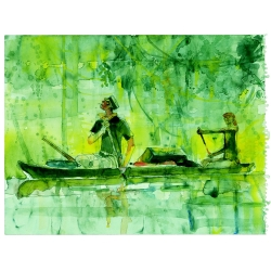 Postcard Corto Maltese, pirogue ride (17,5x12,5cm)