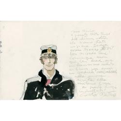 Postal de Corto Maltés, carta manuscrita (17,5x12,5cm)