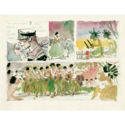Carte postale Corto Maltese, La vie dans le Pacifique (17,5x12,5cm)