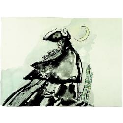Carte postale Corto Maltese, La Lune (17,5x12,5cm)