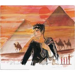 Postal de Corto Maltés, Las Pirámides (17,5x12,5cm)