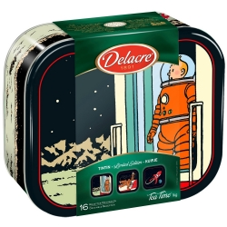 Delacre Tin Biscuit Box, Tintin coming out of the rocket on the Moon (1kg)