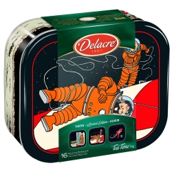 Delacre Tin Biscuit Box, Tintin and Haddock on the lunar rocket (1kg)
