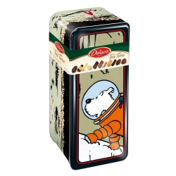 Delacre Tin Biscuit Box, Tintin and Snowy on the Moon (400g)