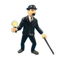 Figurine de collection Plastoy Tintin, Dupond avec sa loupe 8cm (1994)