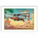 Poster affiche offset Pin-Up Wings Fly Catalina Island, Hugault signée (70x50cm)