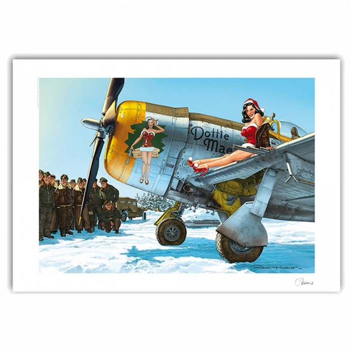 Poster affiche offset Pin-Up Wings P47-D Angel Noël, Hugault signée (70x50cm)