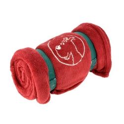 Red Polar Plaid Blanket Tintin, Snowy 100% Polyester (130x160cm)