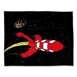 Couverture Polaire Tintin, la fusée lunaire 100% Polyester (130x160cm)
