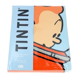Housse de couette et taie d'oreiller Tintin et Milou cosmonaute (140x200cm)