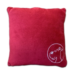 Coussin Moulinsart Tintin, Milou 100% Polyester - Rouge (45x45cm)