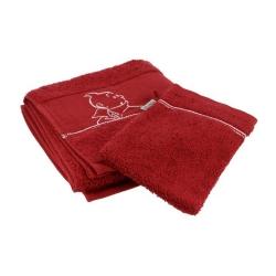 Toalla y Guante de baño Moulinsart Tintín 100% Algodón - Rojo (100x50cm)