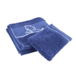 Serviette de bain et Gant de toilette Tintin 100% Coton - Bleu (100x50cm)