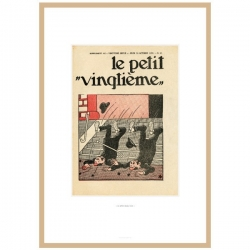Framed Lithograph Tintin Le Petit Vingtième The Blue Lotus 1935 23545 (30x20cm)