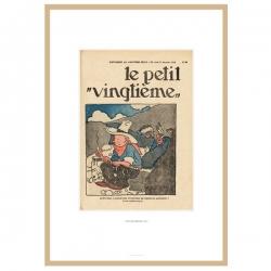 Cadre Lithographie Tintin Le Petit Vingtième Tintin en Amérique 23542 (30x20cm)