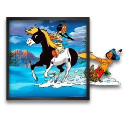 Tableau cadre Funky Frames Yakari, Petit Tonnerre et Arc-en-Ciel (50x50cm)