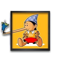 Tableau cadre collection Funky Frames Pinocchio, le Mensonge (50x50cm)