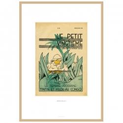 Framed Lithograph Tintin Le Petit Vingtième Tintin in the Congo 23541 (30x20cm)