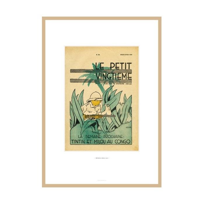 Lithograph Tintin Le Petit Vingtième Tintin in the Congo 23541 (30x20cm)