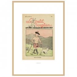 Framed Lithograph Tintin Le Petit Vingtième The Black Island 23547 (30x20cm)