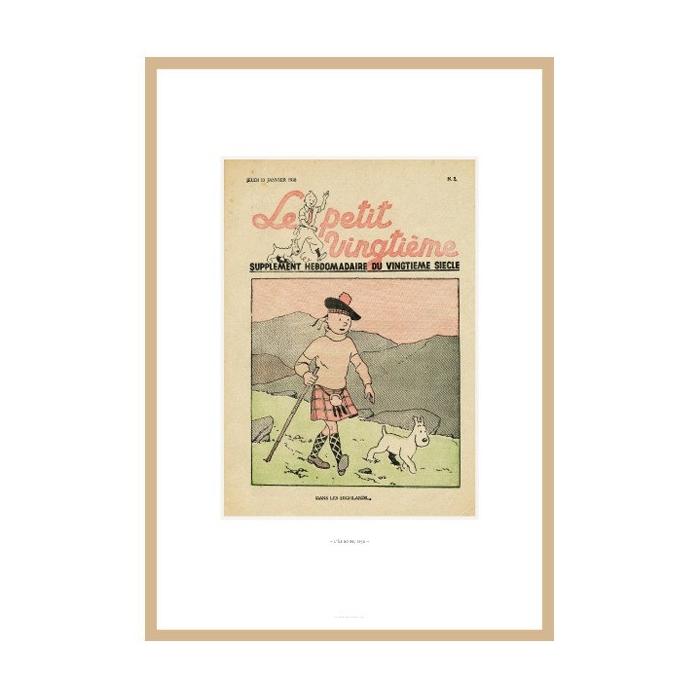 Lithograph Tintin Le Petit Vingtième The Black Island 23547 (30x20cm)