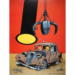 Poster Offset Tome & Janry, Young Spirou in the Citroën traction (60x80cm)