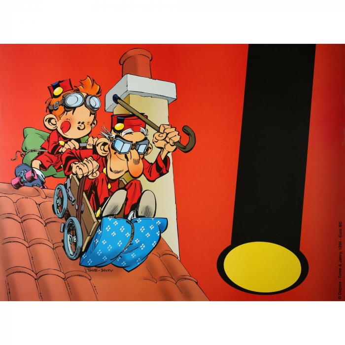 Poster Offset Tome & Janry, Young Spirou with Grandpa on the roofs (80x60cm)