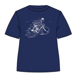 Camiseta Moulinsart de Tintín huyendo en bicicleta con Milú - Azul Persa (2019)