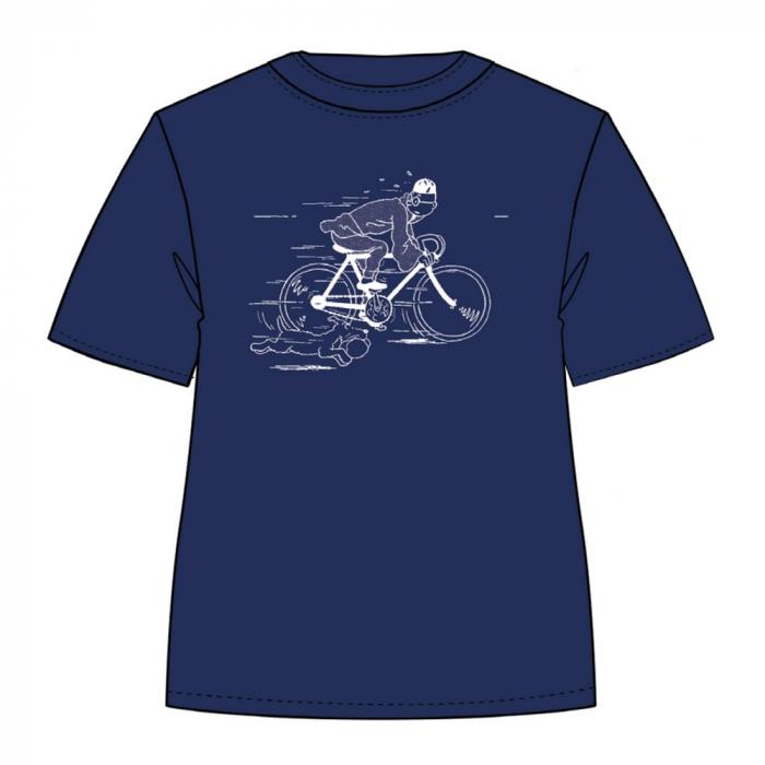 T-shirt Moulinsart de Tintin fuyant en vélo avec Milou - Bleu Persan (2019)