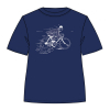T-shirt Moulinsart Tintin fleeing on a bike with Snowy - Persian Blue (2019)
