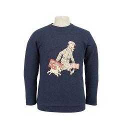 Sweatshirt Tintin and Snowy Le Petit Vingtième ils arrivent Persian Blue (2019)
