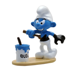 Collectible figurine Pixi Smurfs, Black Smurf painting himself blue 6461 (2020)