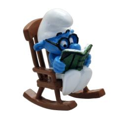 Figura de colección Pixi el Pitufo con gafas en silla mecedora 6465 (2020)
