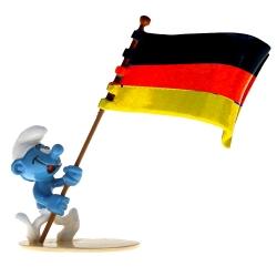 Figurita Pixi Los Pitufos, Pitufo portador de la bandera alemana 6471 (2020)