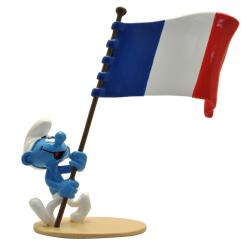 Figurita Pixi Los Pitufos, Pitufo portador de la bandera francesa 6469 (2020)