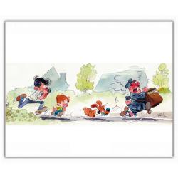 Poster affiche offset Boule et Bill, à la poursuite du facteur (35,5x28cm)