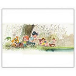 Poster affiche offset Boule et Bill, à la pêche (35,5x28cm)