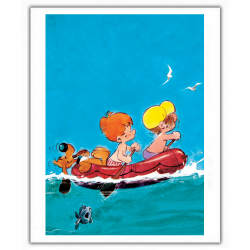 Poster affiche offset Boule et Bill, sortie en mer (28x35,5cm)