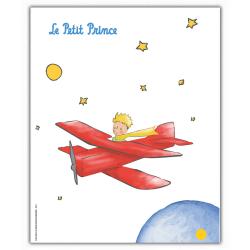 Poster affiche offset Le Petit Prince dans son avion (18x24cm)