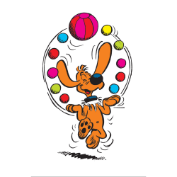 Decorative magnet Billy and Buddy, Juggling balls (55x79mm)