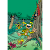 Decorative magnet Marsupilami, Jumping in family (55x79mm)