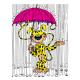 Imán decorativo Marsupilami, con su paraguas (55x79mm)