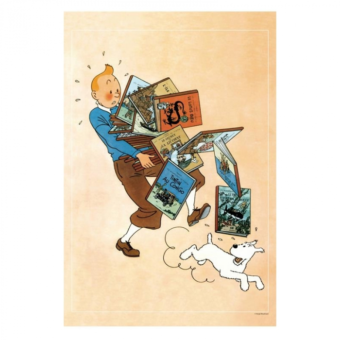 Poster Moulinsart Tintin carrying books 23003 (40x60cm)