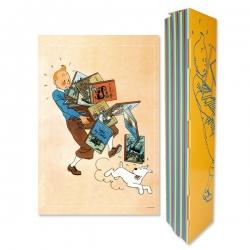 Póster Cartel Moulinsart de Tintín llevando los álbumes 23003 (40x60cm)