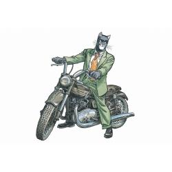 Carte postale de Blacksad, John sur sa moto Triumph (15x10cm)
