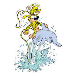Postcard Marsupilami, surfing a dolphin (10x15cm)