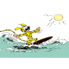Carte postale Marsupilami, en train de surfer (15x10cm)