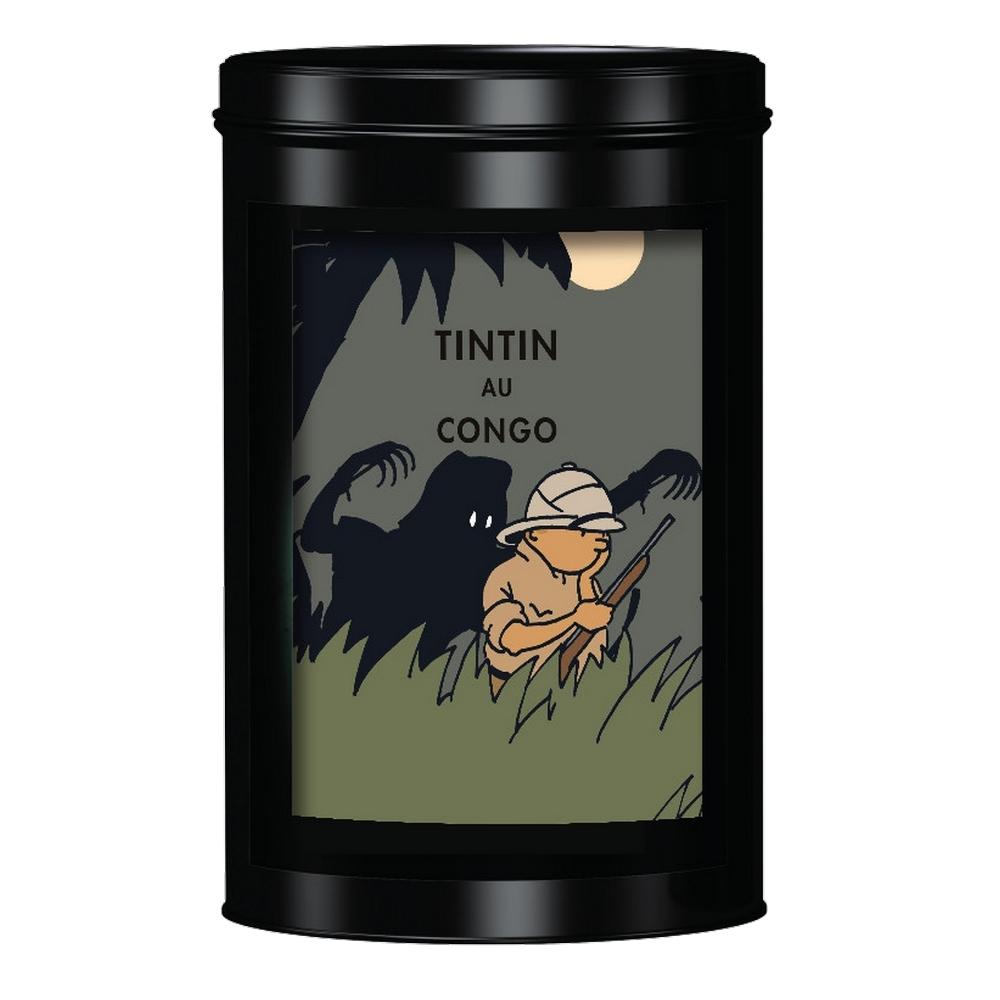 Figurine Moulinsart Coffret Tintin au Congo coloris/é Litho et bo/îte /à caf/é L/éopard