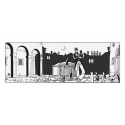 Silkscreen printing Corto Maltese, Theater and cats (50x20cm)