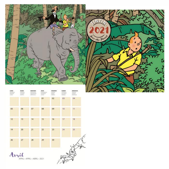 Calendario Hellboys 2021 2021 Wall Calendar Tintin Save the Pla30x30cm (24442)   BD addik